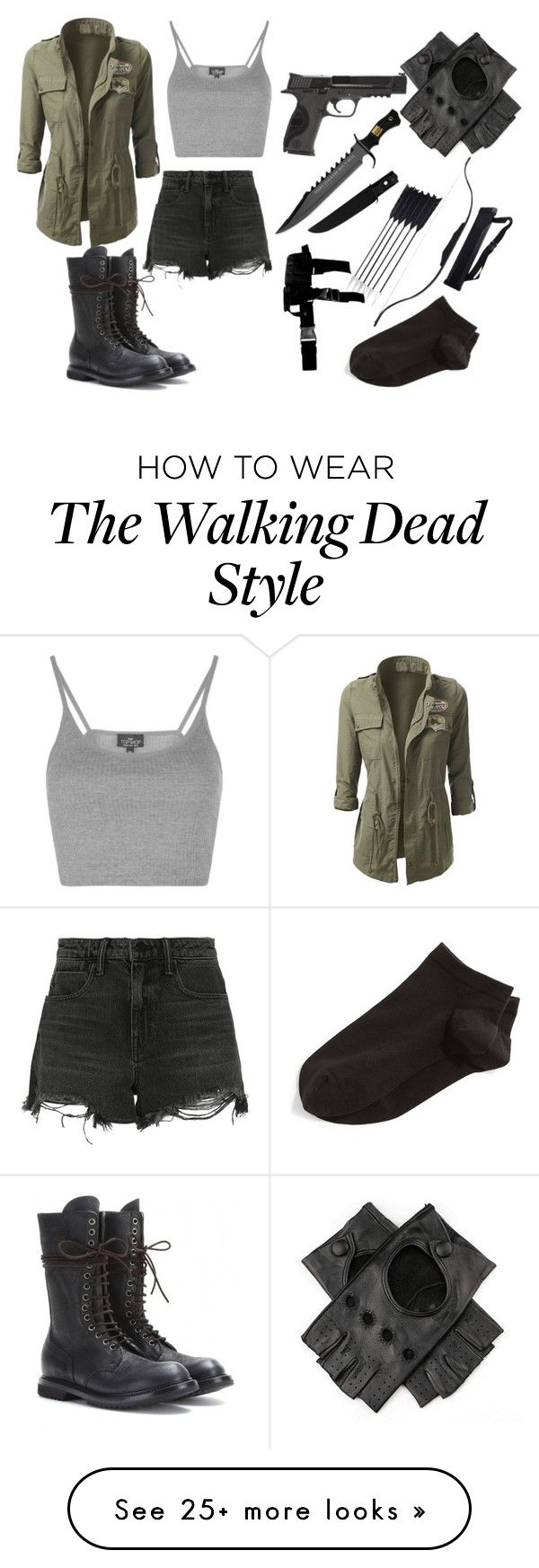 """""""walking dead outfit."""" by megan-bowes on Polyvore featuring Topshop, Smith & Wesson, Alexander Wang, Wolford and Rick Owens"""