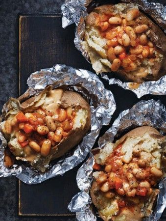 British-Style Jacket Potatoes with Baked Beans & Welsh Rarebit