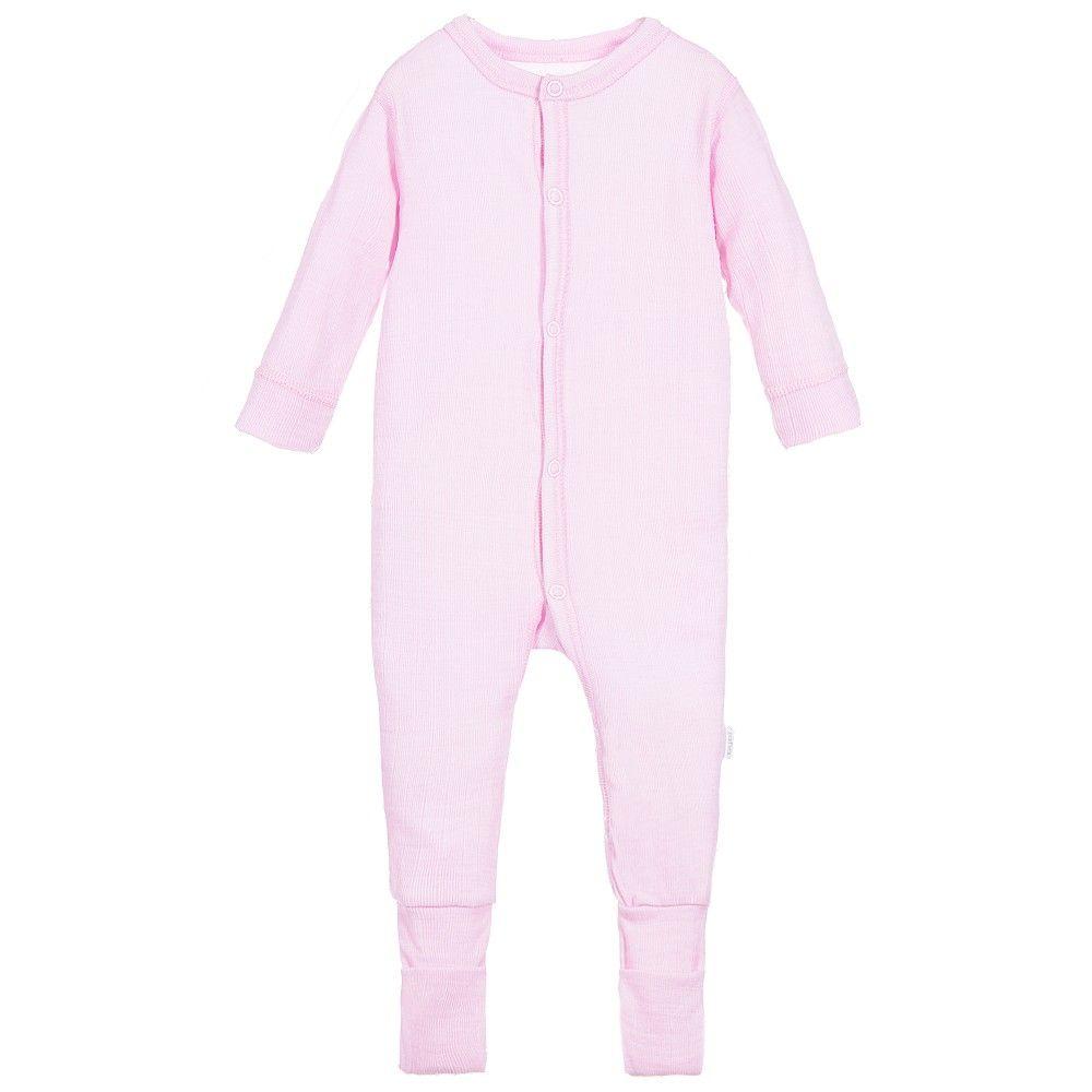 fb0bd12036 Joha Baby Girls Pink Thermal Merino Wool Romper at Childrensalon.com