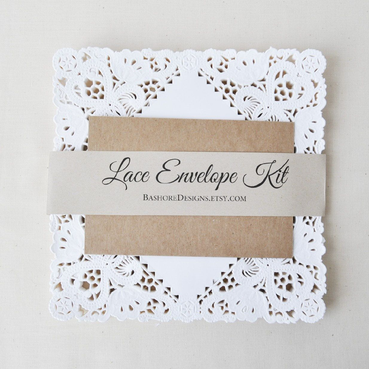 diy lace envelope kit wedding invitation envelope by harvestco