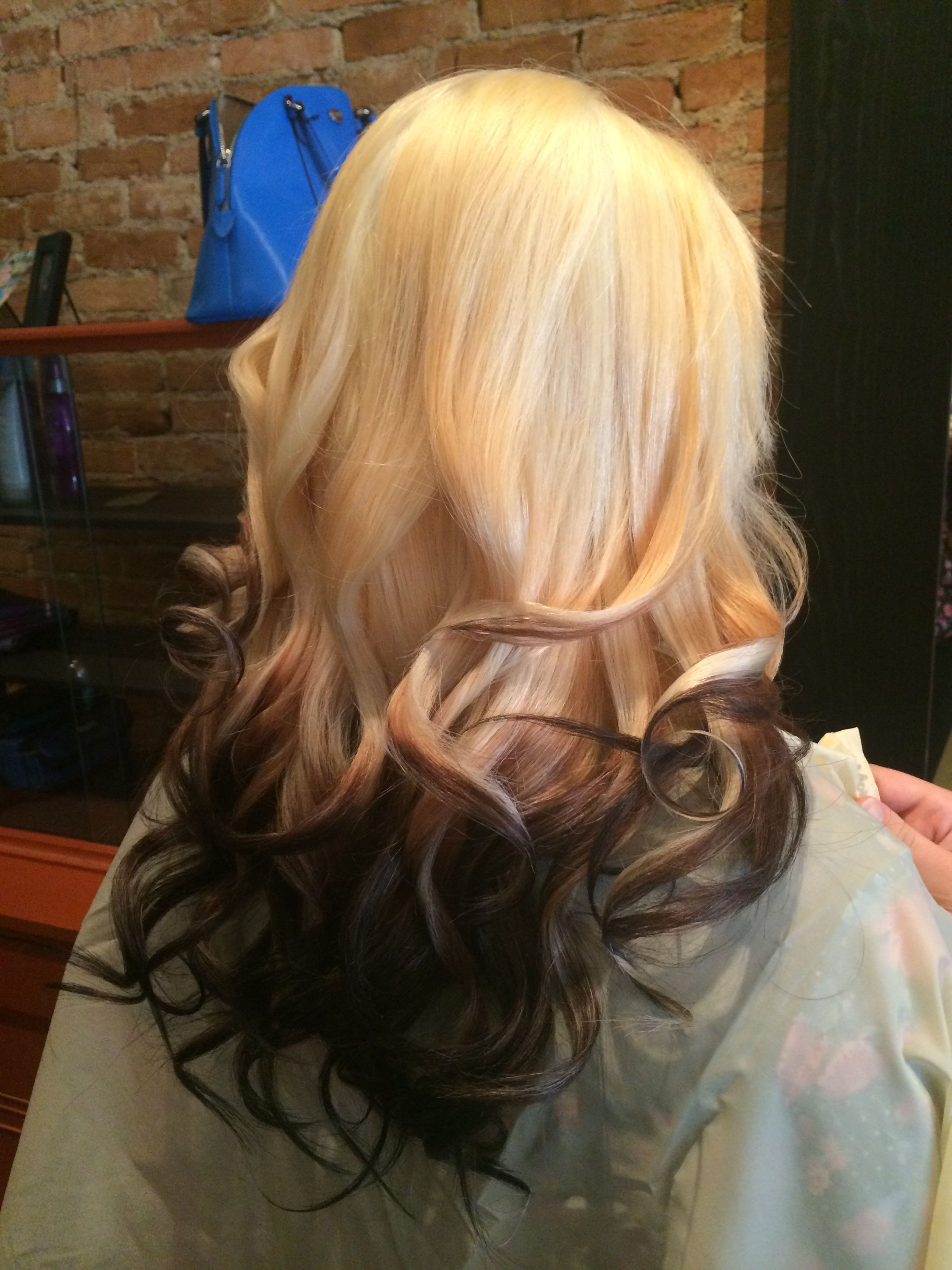 Blonde Platinum Reverse Ombre Dip Dyed Chocolate Fall Hair