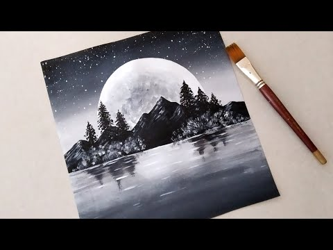 Black White Easy Landscape Painting For Beginners Acrylic Painting Technique Y Easy Landscape Paintings Black Canvas Paintings Black And White Painting