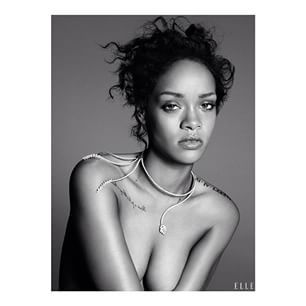 Instagram photo by jewelleryweekly - Rihanna goes topless for Elle US December issue wearing this stunning #yeprem #necklace #jewelleryweekly #jewellery #gold #diamonds #jewelleryblog #style #rihanna