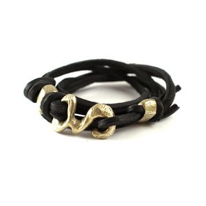 E.O.C. Brass and Leather Wrap Bracelet.