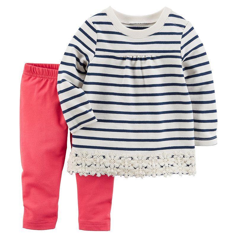 6bd41277c Baby Girl Carter s Striped Crochet Top   Leggings Set