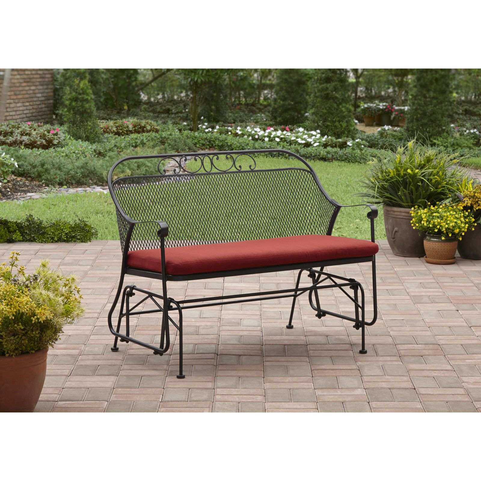 Outdoor Garden Bench Patio Glider Seat Wrought Iron Metal Furniture Front Porch