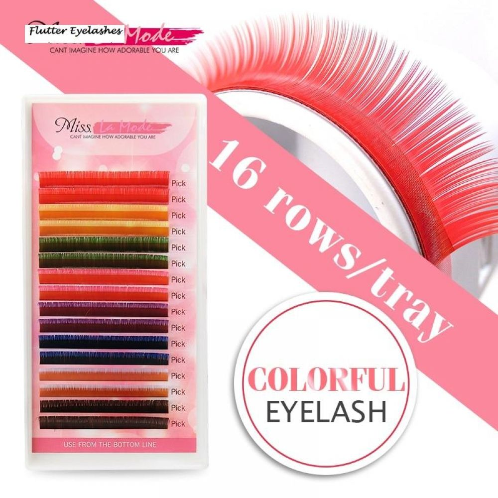 Misslamode 8 Colors 16rows Rainbow Eyelash Extension in ...