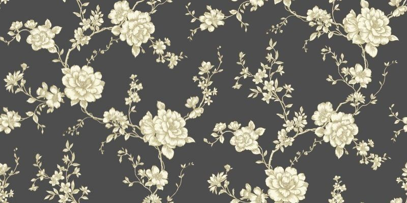 Belvoir Black (416401) - Arthouse Wallpapers - A lovely country cottage style rose trail with a sepia and lustre effect trail on a matt charcoal black background. Please request sample for true colour match.
