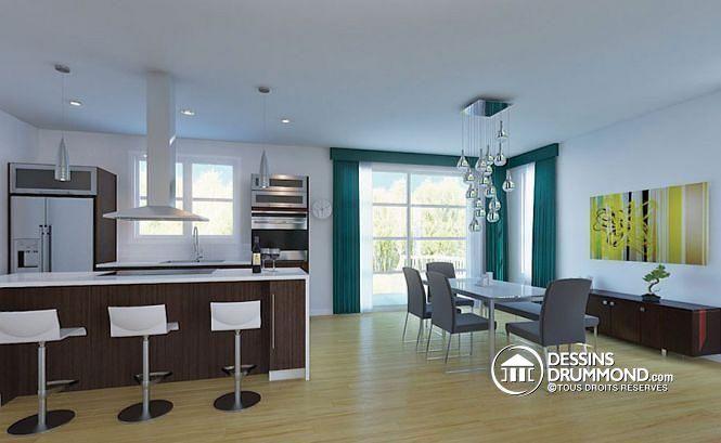 W3880 - Maison contemporaine moderne, 4 chambres, garage, garde - salle a manger design moderne
