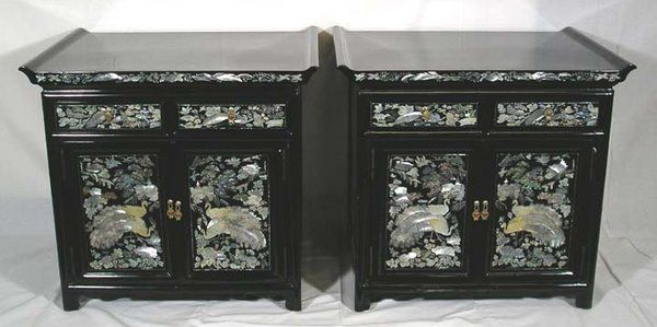 Korean Furniture Inlaid Mother Of Pearl And Black Lacquer Vintage