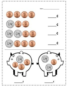Nickel And Penny Piggy Bank Practice Money Math Activities