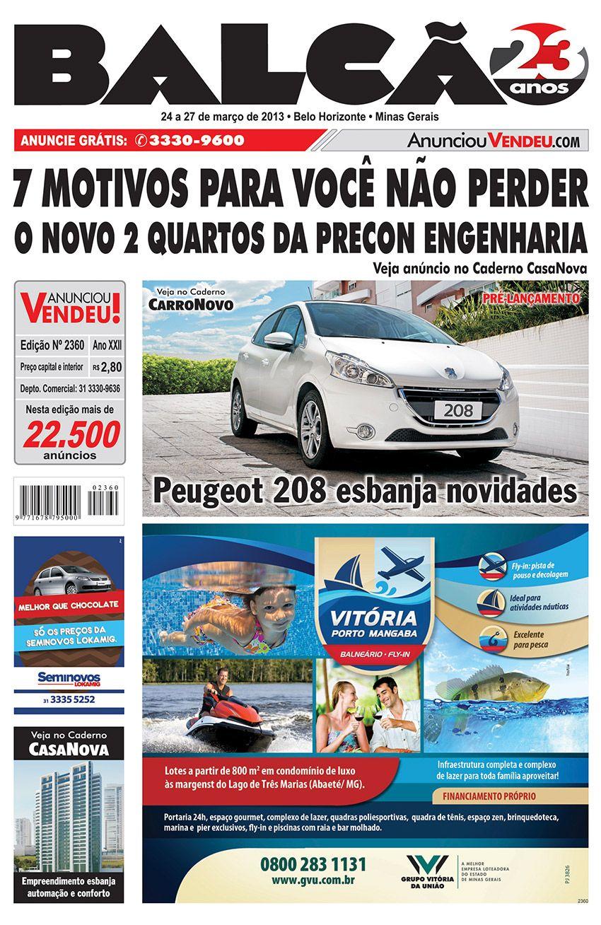 Capa Jornal Balcão em circulação dos dias 24 a 27 de Março. #casanova #motonova #carronovo #peugeot208 #lokamig #balneário #gvu