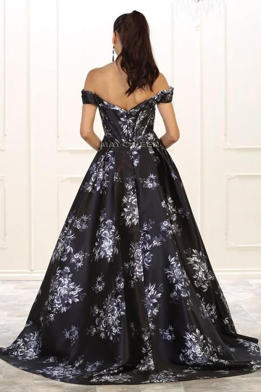 Off the shoulders floral prom dress RQ7500 - CLOSEOUT   Dave wedding ...
