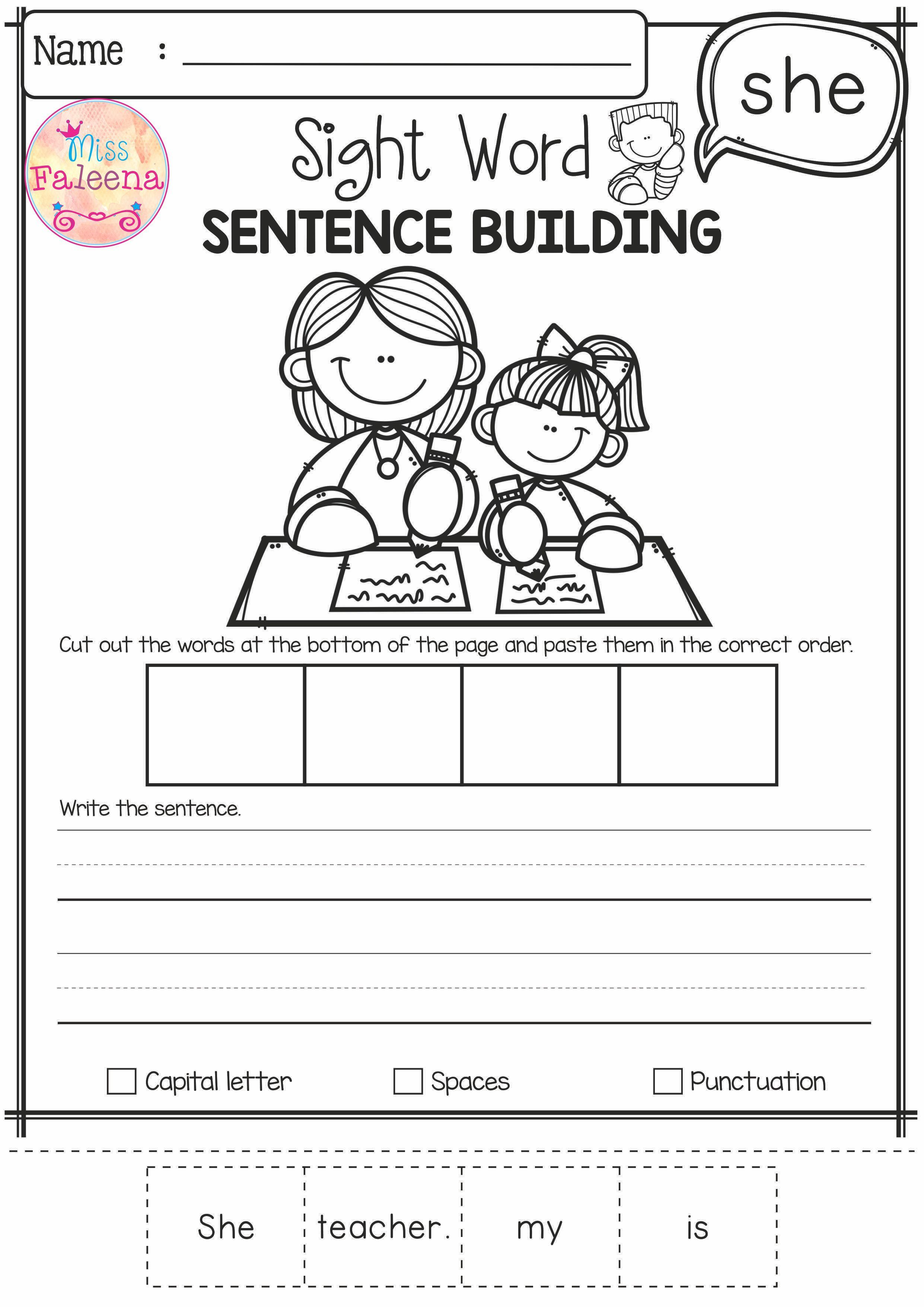 Free Sight Word Sentence Building Has 10 Pages Of Sentence