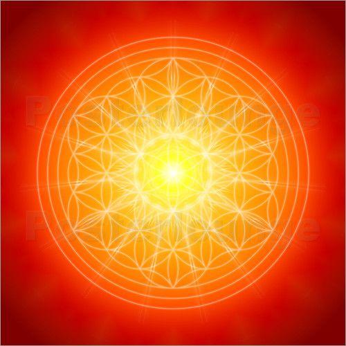 Marcus Tuerner - Flower of Life with orange/red  Mandala