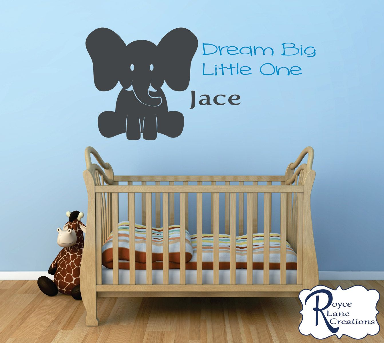 Nursery Decal Dream Big Little One Elephant Decal Nursery Elephant Wall Decal Baby Boy & Nursery Decal Dream Big Little One Elephant Decal Nursery Elephant ...