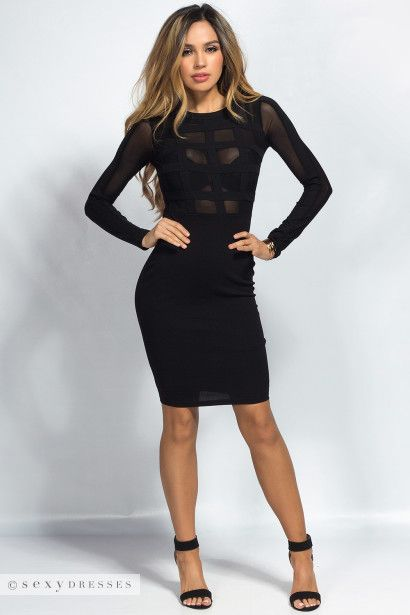 Kendra Black Window Pane Cut Out Long Sleeve Mesh Sheer Top Dress