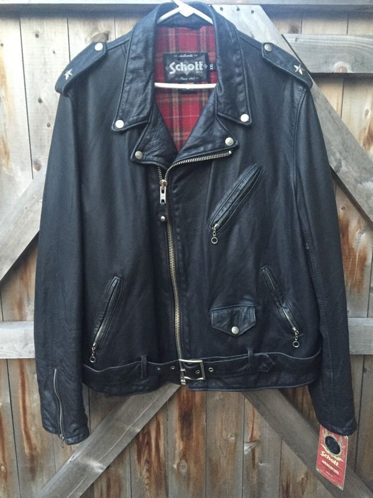 73d042796 SCHOTT NYC 626 VN ASYMMETRICAL LEATHER MOTORCYCLE JACKET SIZE XXL 44 46 SLIM  FIT #Schott #Motorcycle