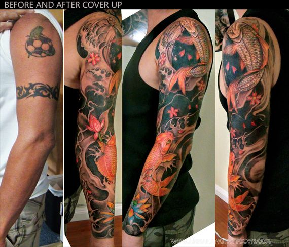 Full Arm Koi Fish Tattoo Design 1 Jpg 570 488 Arm Cover Up