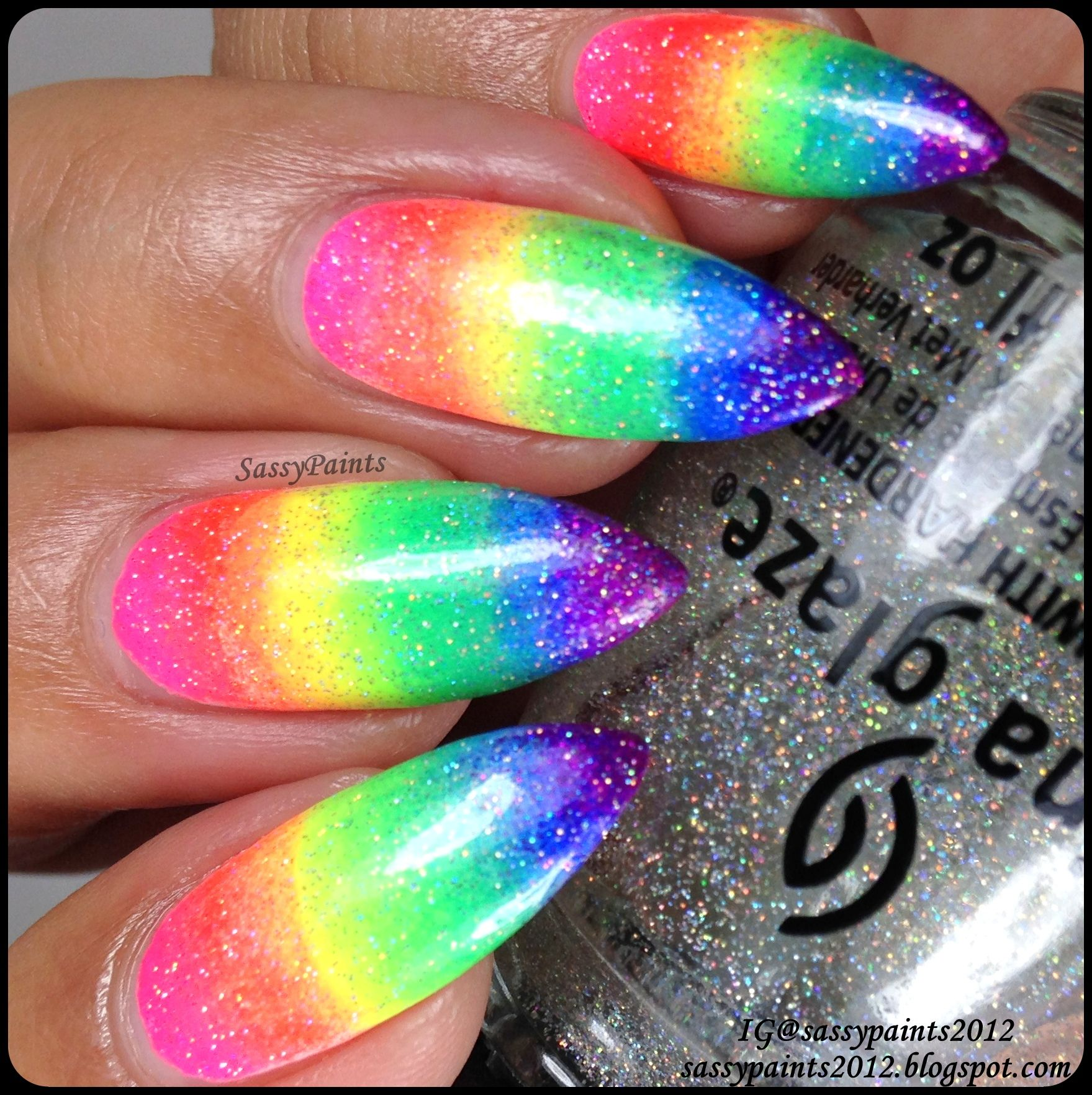 Sassy Paints: China Glaze Neon Rainbow Gradient   Nails and hair ...