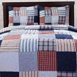 Bradley Red/ Blue Patch 3-piece Quilt Set | Theme colors for our ... : plaid comforters and quilts - Adamdwight.com