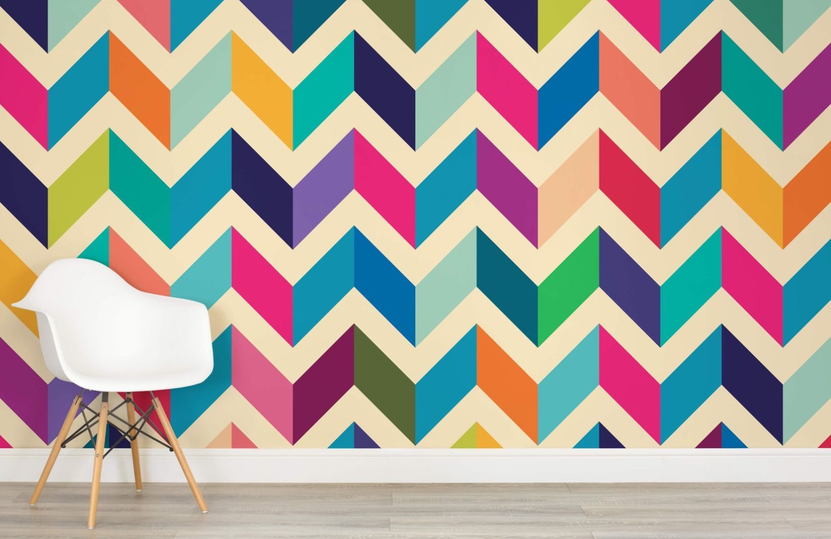 Zig Zag Pattern Wallpaper Pink Blue Chevron Muralswallpaper Kids Room Wall Decor Wall Paint Designs Wall Decor