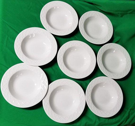 Oneida Picnic Pattern Bowls/Oneida China/Oneida Picnic Soup Bowls/Vintage Oneida Soup Bowls/Oneida White Bowls/Oneida China/White Bowls & Oneida Picnic Pattern Bowls/Oneida China/Oneida Picnic Soup Bowls ...