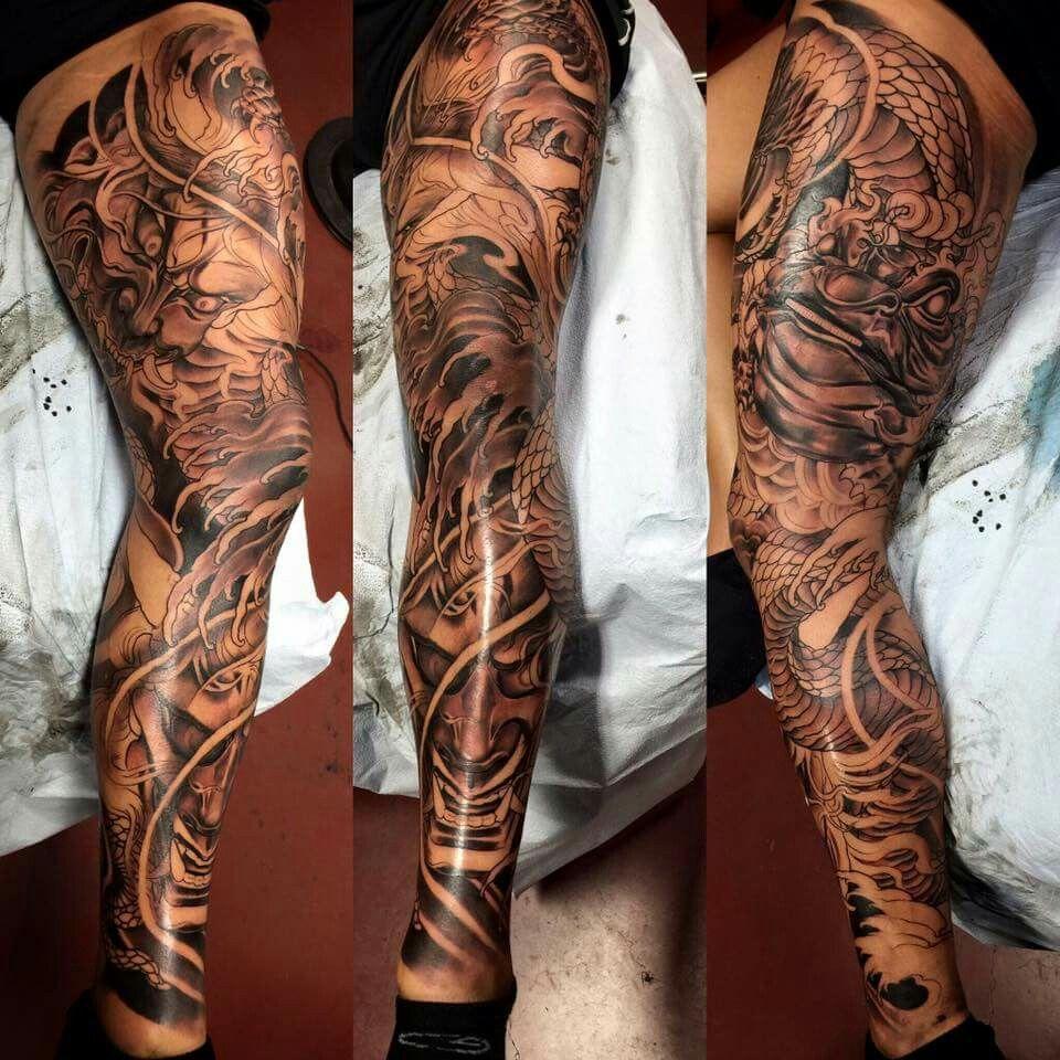 Master Mike of Ink Fiend Tattoo Leg sleeve tattoo, Leg