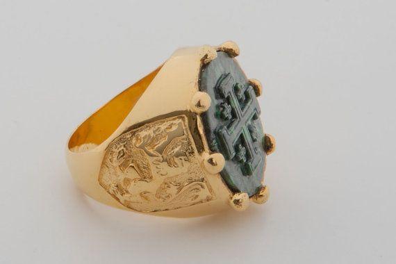 1ef6bad7aa6b Jade Ring Signet Handmade Jerusalem Cross Gold Plated Sterling ...