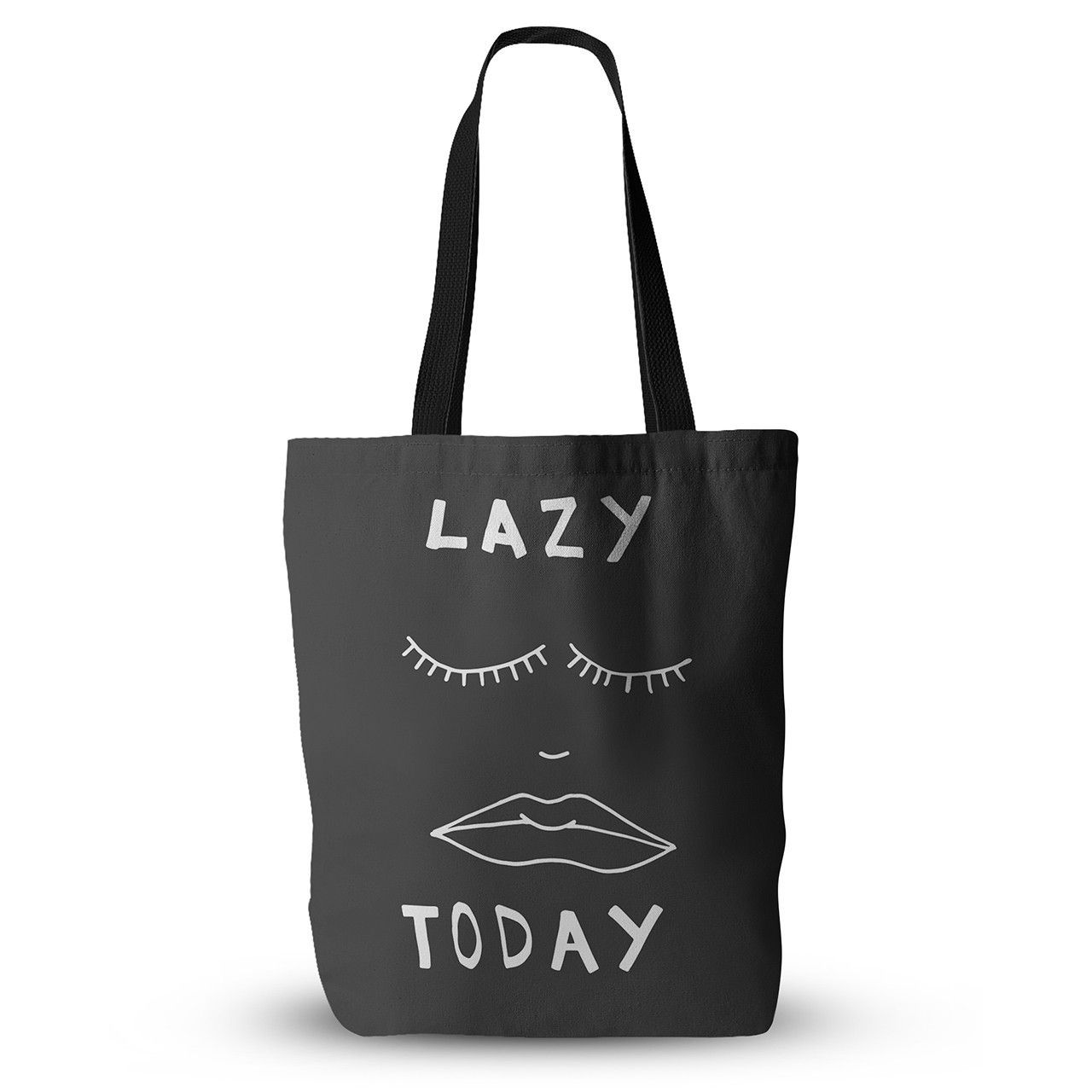 """Vasare Nar """"Lazy Today Grey"""" Typography Gray Everything Tote Bag"""