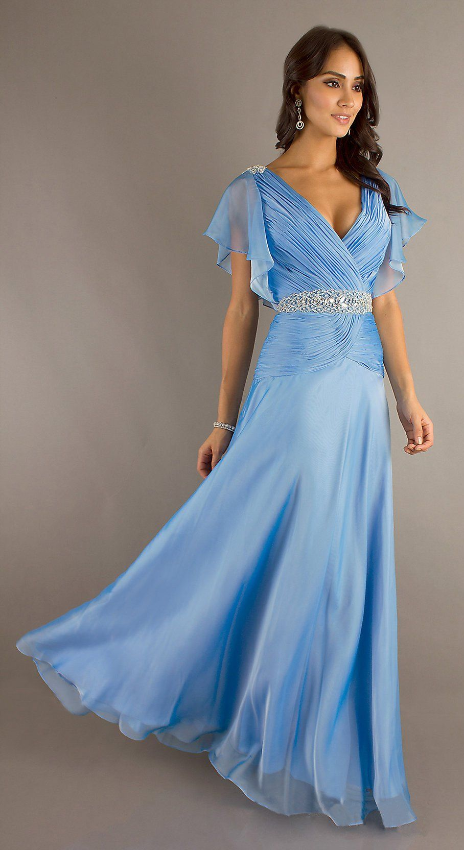 Modest Long Periwinkle Formal Gown V Neckline Short Sleeve Chiffon ...