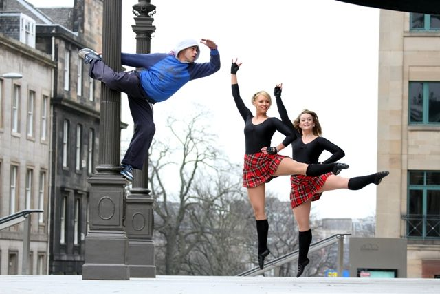 A photo-call with Whisky Kiss – the event involved a ceilidh and a dance-off between the world champion Highland Dancers & the Scottish Champion break-dancers.  Photo by Iain Stewart, Edinburgh