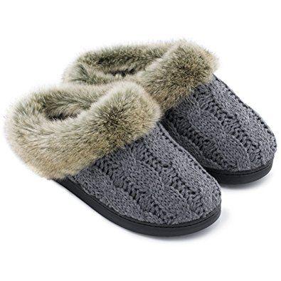 5500aa68659 ULTRAIDEAS Women s Soft Yarn Cable Knit Slippers Memory Foam Anti-Skid Sole  House Shoes w Faux Fur Collar