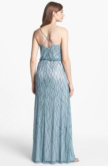 Adrianna Papell Beaded Mesh Blouson Gown (Regular & Petite) | Nordstrom