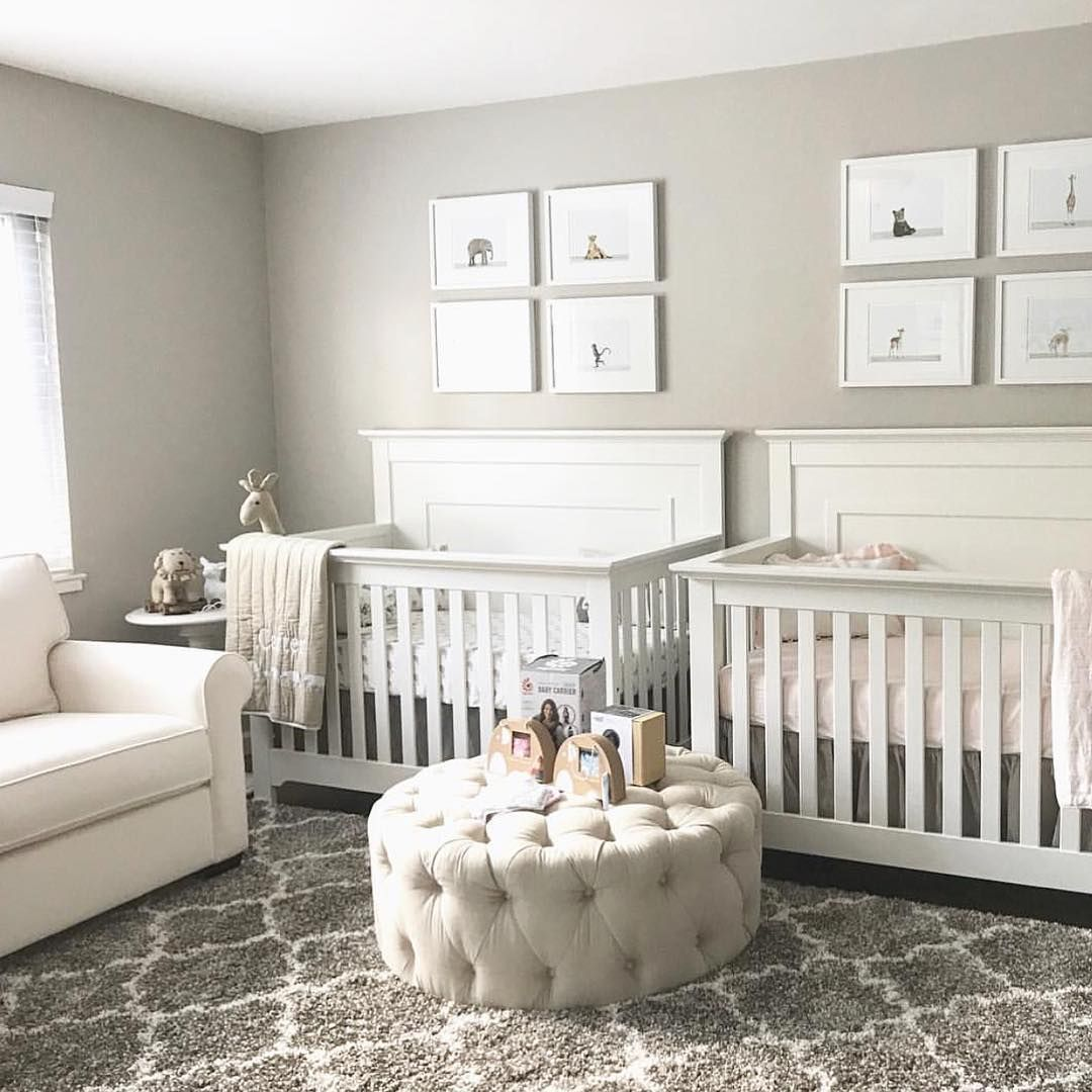 Double The Cuteness Going On In This Nursery Via Ourlittlelove Twin Baby Rooms Nursery Twins Nursery Baby Room