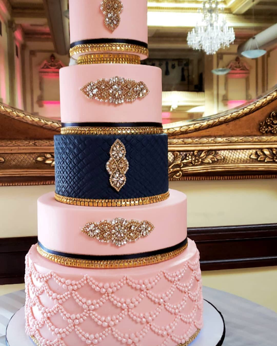 I Do Ghana On Instagram Sneak Peek Gorgeous Navy Blue And Blush Pink Cake By Micklindcakes In 2020 Wedding Cake Navy Rose Gold Wedding Cakes Pink And Gold Wedding