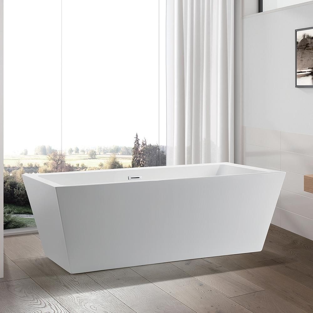 Vanity Art Tarbes 67 In Acrylic Flatbottom Freestanding Bathtub In White Va6814 Free Standing Bath Tub Soaking Bathtubs Bathtub Design