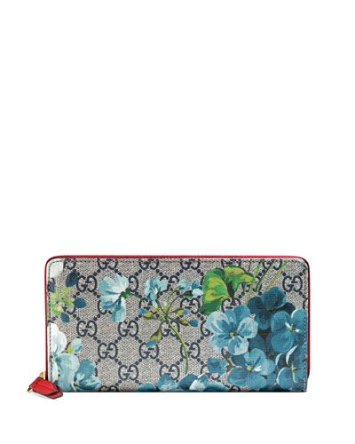 85c7589c1834e8 V2ZQT Gucci GG Blooms Zip-Around Wallet, Blue/Multi Designer Wallets,  Printed