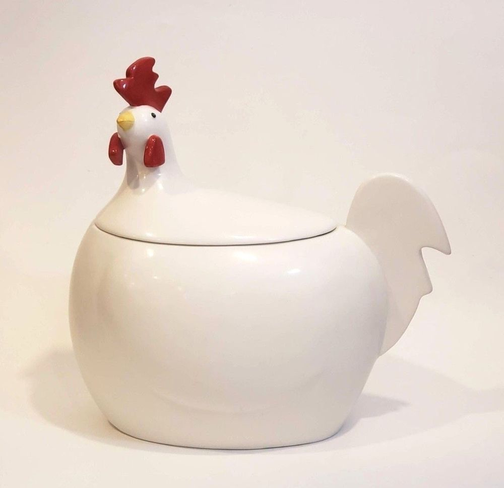 Chicken cookie jar department 56 canister white hen with