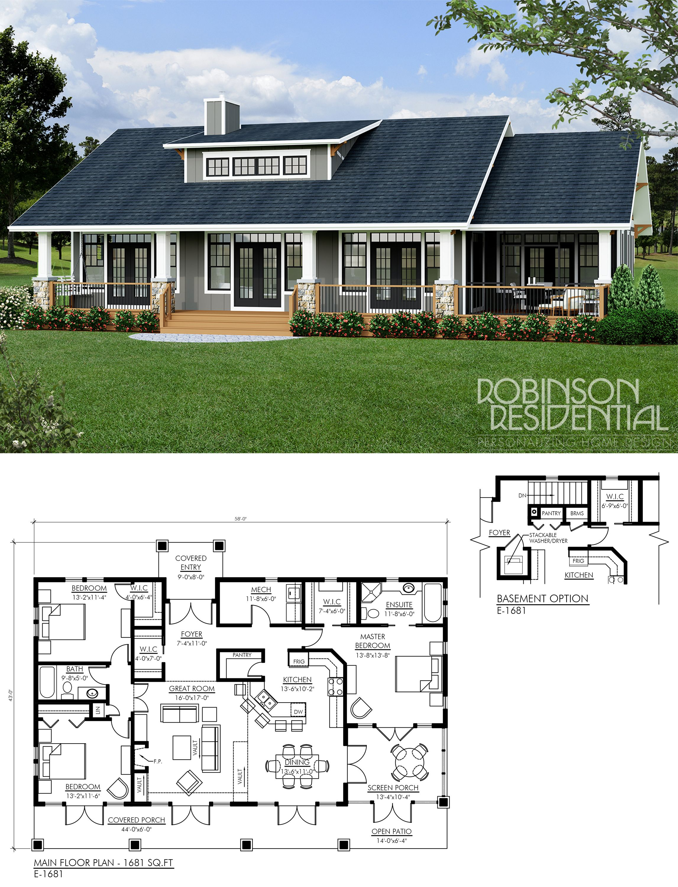 Craftsman E 1681 Robinson Plans Dream House Plans Bungalow House Plans New House Plans