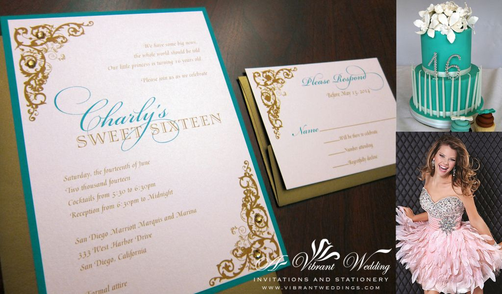 sweet sixteen invitation teal and blush pink with corner scroll