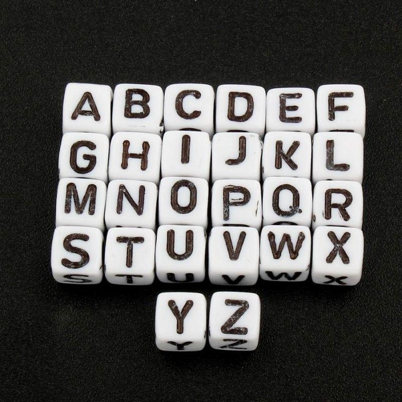 Lot Perle Noir Lettre Alphabet Cube 6mm Braclet Porte clé Attache tetine