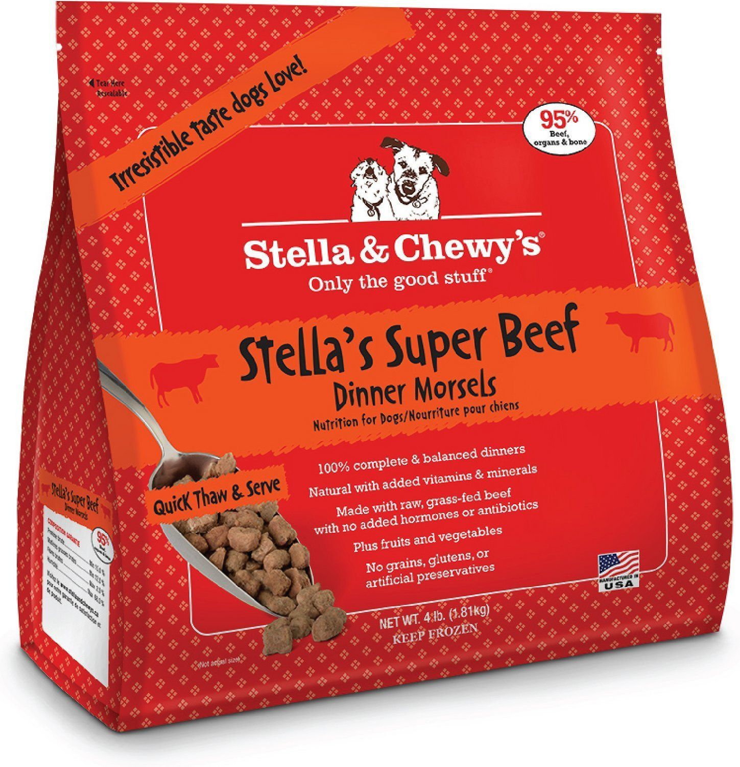 STELLA Raw Beef Morsels Dog Recipe Meal Rich in Nutrients