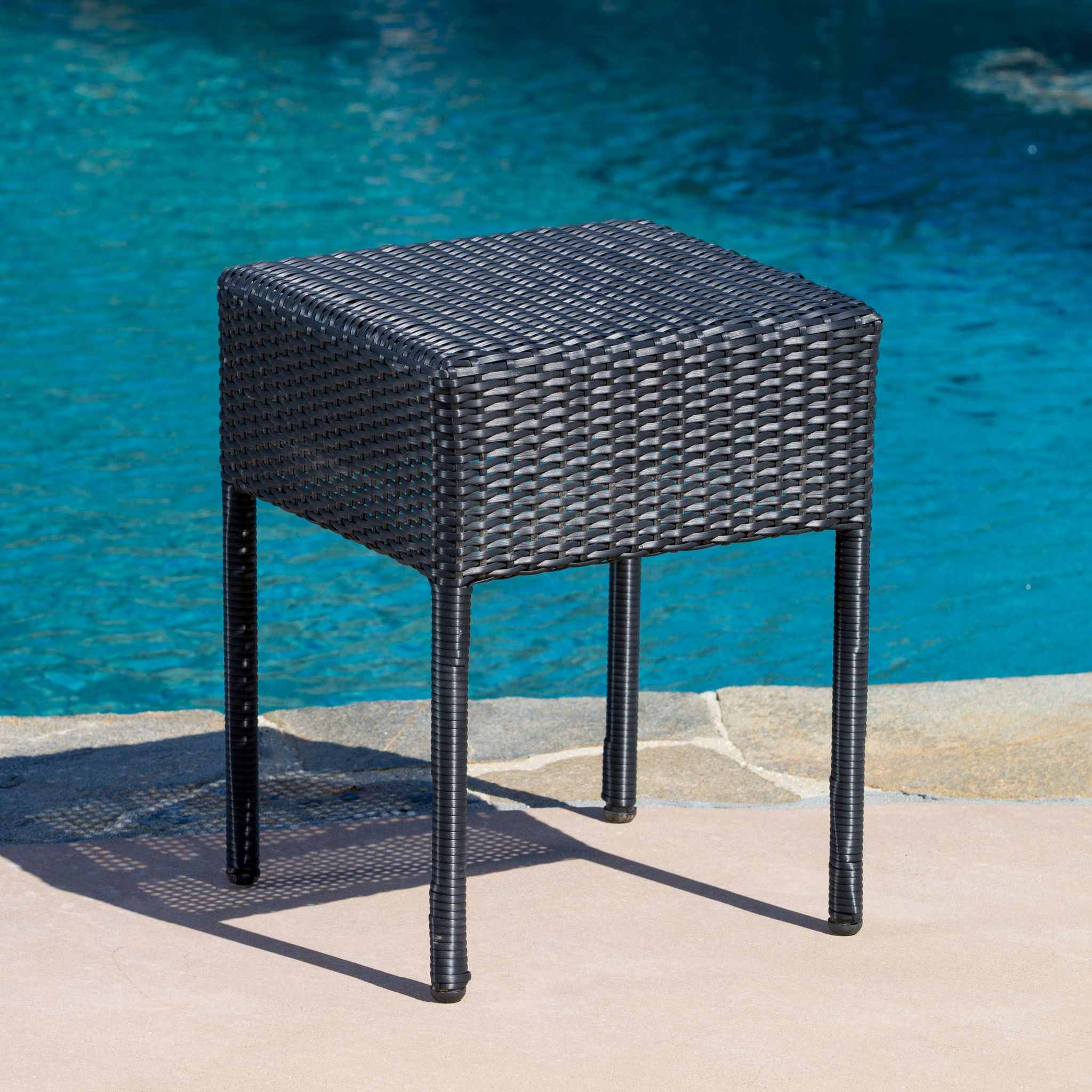 Ad Edgar Outdoor Black Wicker Side Table The Is Stylish And