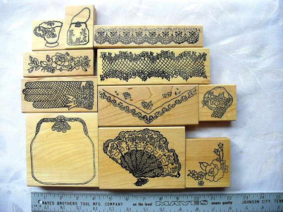 Beautiful Southern Tea Time DESTASH 11 LARGE Rubberstamp Lot, Me and Carrie Lou, Purse, Fan, lace border, handkerchief, tea cup, glove on Etsy, $65.00