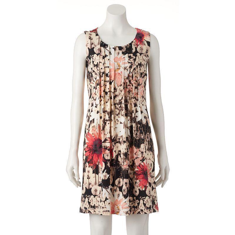 Women's Perceptions Floral Pintuck Shift Dress