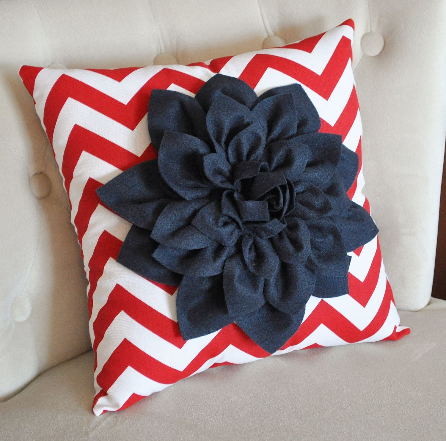 American Navy Blue Dahlia on Red and White Zigzag Pillow Chevron