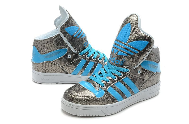 Adidas High Tops for Girls | Jeremy Scott Adidas High Tops Big Tongue Shoes  Snake Silver