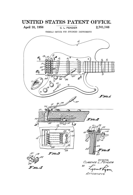 Fender Guitar Tremolo Patent - Patent Print, Wall Decor, Music Poster, Music Art, Musical Instrument Patent, Guitar Patent, Fender #fenderguitars