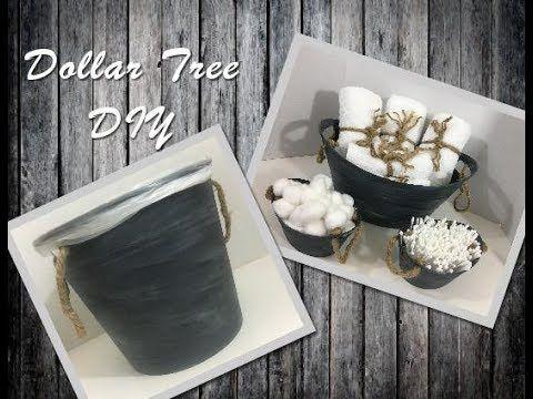 Diy Rustic Bathroom Wastebasket Using Dollar Tree Items Youtube Diy Rustic Decor Bathroom Waste Basket Rustic Diy